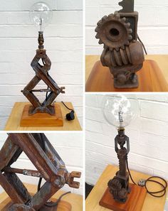 Upcycled lamps from vintage motorcycle and automotive parts by Moto Graphica, Melbourne.