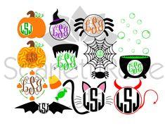 Halloween Monogram Frame SET, spider, witch, black cat, pumpkin, frankenstein, devil, bat SVG cut file for silhouette cameo and cricut by ScarlettRoseCuts on Etsy