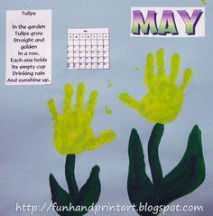 handprint poem   Handprint and Footprint Art : Handprint Tulips for May - Handprint ...