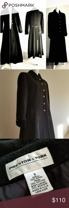 """Stunning fitted Wool coat Absolutely beautiful wool coat. Fitted fit. Folded cuffs and collar. Detailed in the back . It fits almost like a dress 😁  Like new condition   Approximate measurements: Length 48"""" Bust 40"""" Preston & York Jackets & Coats Pea Coats"""