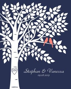 Navy and Coral Wedding - Guest Book Tree Personalized Wedding Print 16x20150 by karimachal, $32.00