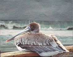 Landscape art quilt with pelican watching the waves in Hermosa Beach, CA by Barbara Barrick McKie