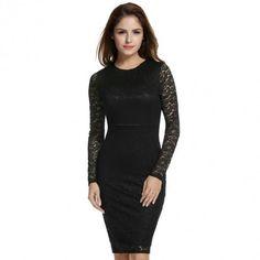 Women Fashion Long Sleeve Hollow Floral Lace Slim Evening Party Bodycon Pencil Short Dress
