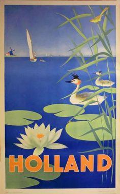 Holland vintage travel poster lily pond, sailig