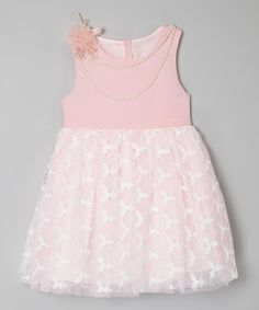 Look at this Pink Lace Pearl Dress  - Toddler