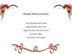 Free PDF: Holiday Wishes in Italian -  Simple phrases for your Christmas greeting cards.