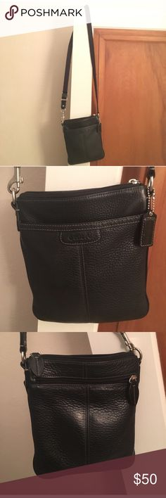 Black leather coach purse crossbody Black leather coach purse. Very good condition. Some small fraying on strap that could easily be trimmed. Coach Bags Crossbody Bags