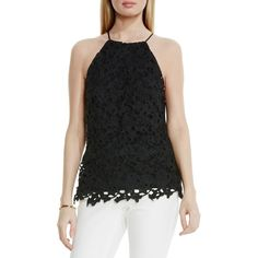 Vince Camuto Lace-Overlay Halter Top ($79) ❤ liked on Polyvore featuring tops, black, floral top, lace top, sleeveless halter top, halter top and halter neck top