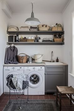 strenghielm_laundry.2 Living Room Designs, Living Spaces, Laundry Room Inspiration, Laundry Room Design, House Rooms, Kitchen Remodel, Home Goods, Kitchen Decor, Sweet Home