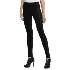 Every designer is showing faux leather leggings. These are $100, proving it pays to shop: Got mine on ebay for less than 10 bucks! BCBGMAXAZRIA : CARAGH PLEATHER COMBO LEGGING