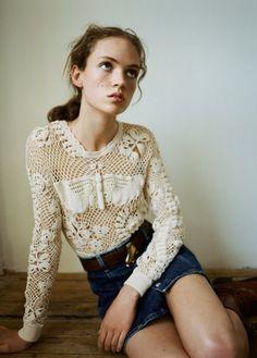 White Crochet Long Sleeve Shirt Sweater