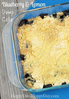 Blueberry & Lemon Dump Cake Recipe - EASIEST Summer Picnic Dessert Recipe! happydealhappyday.com