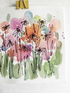 Watercolor And Ink, Watercolor Flowers, Watercolor Paintings, Watercolours, Happy Paintings, Watercolor Artists, Watercolor Portraits, Watercolor Landscape, Watercolor Tattoo