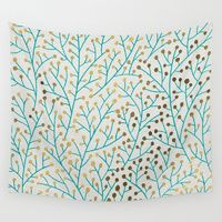 Wall Tapestry featuring Berry Branches � Turquoise & Gold by Cat Coquillette