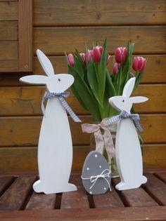 Osterdeko - Bunny und Schnuffel mit Osterei Set in weiß - ein Designerstück von Creative-Holz bei DaWanda