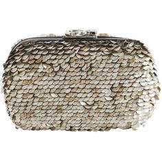 Corto Moltedo Women Susan Metallic Sequined Clutch (€1.720) ❤ liked on Polyvore featuring bags, handbags, clutches, silver, clasp purse, metallic handbags, brown purse, metallic clutches and embellished handbags