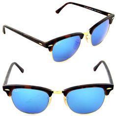c1f9d5de2de Ray-Ban Rb3016 114517 Clubmaster Tortoise Frame Blue Flash 51mm Lens  Sunglasses