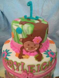 Made by LaKeisha Keck with Sweet Tooth Mother and Daughter cakes. Monkey birthday cake.
