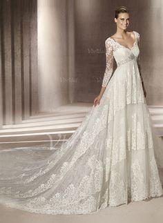 Bröllopsklänningar - $326.99 - A-linjeformat V-ringning Court släp Satäng Tyll Spetsar Bröllopsklänning med Pärlbrodering Paljetter (00205001066)