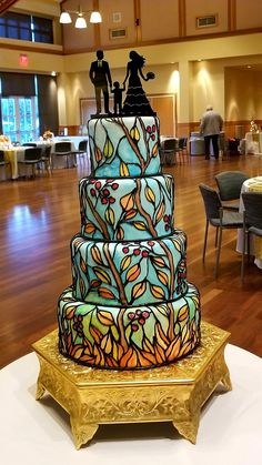 Stained glass wedding cake Stained Glass, Wedding Cakes, Baking, Chair, Table, Furniture, Home Decor, Wedding Gown Cakes, Decoration Home