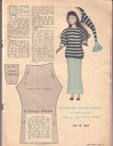 Free Fashion Doll Clothes Pattern - Surfie Sweater, Cap (knit)  Bell Bottoms