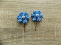 Blue, blue jeans, pastel blueFlower Hair clips, pearl/diamond Hair Clips for girls /children,perfect girls gift,2* handmade Crochet Flower by handmade4y on Etsy