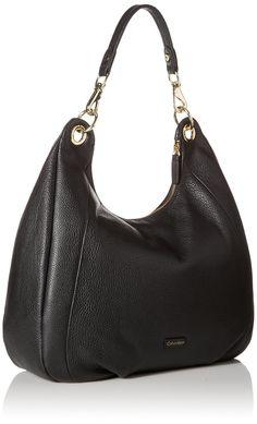 Calvin Klein Calvin Klein Pebble Leather Hobo Bag, Black/Gold, One Size: Handbags: Amazon.com