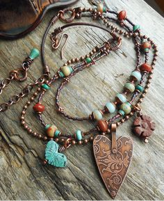 Lunedesigns Kiersten Giles Heart Necklace Southwest Copper Damask Charm by lunedesigns, $75.00