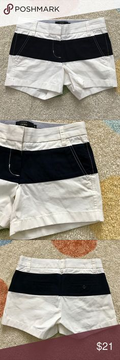 J. Crew chino shorts white w/ black stripe size 00 These white chino shorts with a thick black stripe from J. Crew are sporty and fun for the summer! They're in EUC with no holes, stains, or rips. Bundle with other items from my closet for the best deal! J. Crew Shorts
