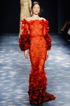 Marchesa Autumn / Winter 2016 AW16 - New York Fashion Week NYFW - Red long slim dress with bardot neck and flowers at sleves and at down skirt