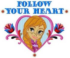 Follow your heart machine embroidery design. Machine embroidery design. www.embroideres.com