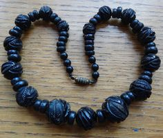 antique Victorian WHITBY JET fancy carved flower bead necklace -D316