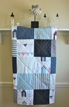Baby Boy Quilt -  Nautical Blue -  Modern Patchwork Baby Blanket in Navy, White, Blue, Grey, and Red - Toddler Quilt - Flannel or Minky Back...