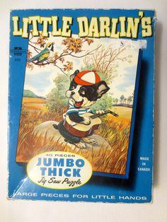 Vintage Little Darlins 1963 Jigsaw Puzzle Complete - Banjo-Playing Dog - Vintage Toys/Games