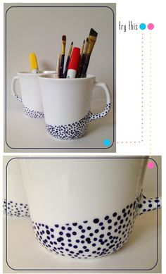 DIY - Painted Ceramic Mugs using Pebeo Porcelaine 150 paint. Full Step-by-Step Tutorial. Pottery Painting, Ceramic Painting, Diy Painting, Diy Arts And Crafts, Fun Crafts, Pebeo Porcelaine 150, Sharpie Crafts, Diy Mugs, Painted Mugs