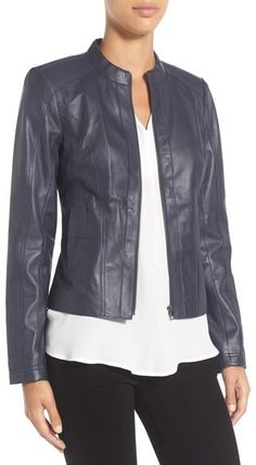 Halogen ® Raw Edge Pieced Leather Jacket (Regular & Petite)