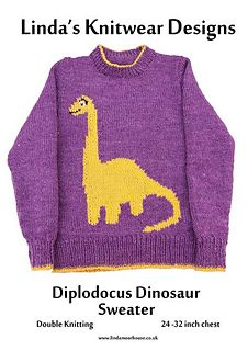 Childs sweater with Diplodocus dinosaur motif - sizes - 26 - 28 - 30 - inch chest Round neck with set in sleeves Required: mm & 4 mm needles; double knitting yarn Tension: 22 stitches x 30 rows = 4 inches using needles and stocking stitch Motif size: Knitting Patterns Boys, Jumper Knitting Pattern, Jumper Patterns, Knitting For Kids, Double Knitting, Baby Patterns, Baby Knitting, Knitting Yarn, Batman Crochet Hat