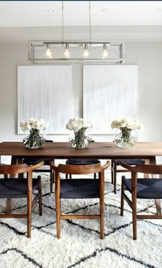 ikea dining room ikea dining table in dining room scandinavian with black and white rug abstract art - Modern Dining Ikea Dining Table, Dining Room Sets, Dining Room Design, Dining Room Furniture, Dining Area, Kitchen Design, Walnut Dining Table, Dinning Room Art, Furniture Design