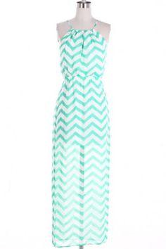 Mint Green and White Chevron Maxi Dress