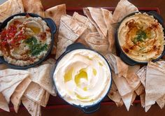 A trio of Lebanese dishes: Baba Ghanouj, Labne, and Hummus!