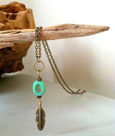 Boho Turquoise Feather Necklace : Coastal Soul Jewelry