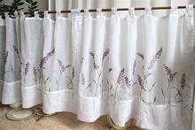 55 см x 110 см короткие шторы для окна кухни лаванда цветочный вышитые декоративные шторы для маленькие окна(China (Mainland))