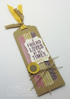 Fall bookmark project using Color Me Autumn washi tape from Stampin' Up. By Lyssa Griffin Zwolanek for Song of My Heart Stampers.