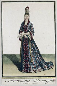 "Charlotte de Lorraine-Armagnac in a ""Robe de Chambre"", 1695 somewhere between fanciful and lady brute"