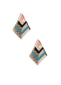 Chic Chevron Drop Earrings In Coral