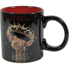 """Officially licensed Game Of Thrones ceramic mug. Smooth molded ceramic composite features """"Five Kings One Throne"""". Easy comfort grip c-curved handle. Pottery Classes, Ceramic Mugs, Winter Is Coming, Game Of Thrones, Smooth, Lord, Geek Stuff, Handle, King"""