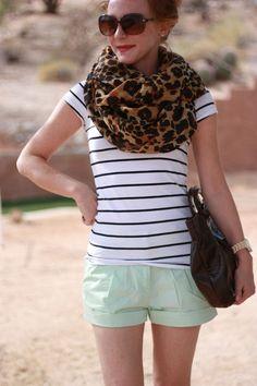 I need mint shorts this spring. FUNKY MIX of prints. cant decide if love or dislike Mint Shorts, H&m Shorts, New Mode, Leopard Print Scarf, Cheetah Print, Fade Styles, Spring Summer Fashion, Summer Wear, Summer Outfit
