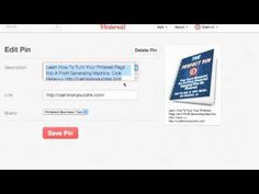 Pinterest for Business: How To Edit Your Pin on Pinterest  Click Here==>  http://www.youtube.com/watch?v=tmn54LXvX8w=plcp#