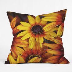 Shannon Clark Sunshine Petals Throw Pillow | DENY Designs Home Accessories #floral #art #orange #yellow #home
