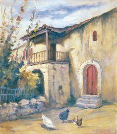 Δημήτριος Πελεκάσης Η πόρτα του Θ. Κολοκοτρώνη, Ζάκυνθος Λάδι σε hardboard 36×32 εκ.